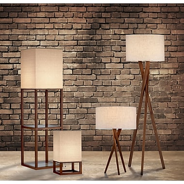 Adesso 3227-15 Brooklyn Incandescent Floor Lamp, Walnut
