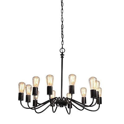 17 Stories Anca 12-Light Candle-Style Chandelier; Black