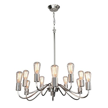 17 Stories Anca 12-Light Candle-Style Chandelier; Brushed Nickel