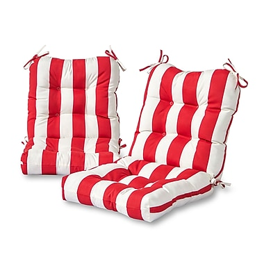 Greendale Home Fashions Cabana Stripe Outdoor Lounge Chair Cushion (Set of 2); Red