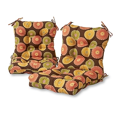 Greendale Home Fashions Flowers Outdoor Lounge Chair Cushion (Set of 2); Chocolate