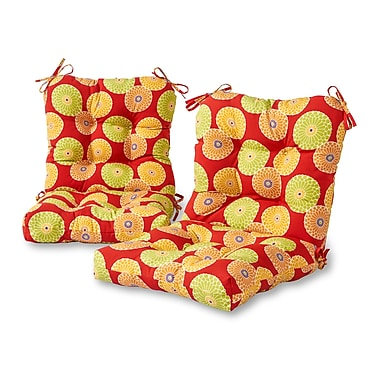 Greendale Home Fashions Flowers Outdoor Lounge Chair Cushion (Set of 2); Red