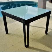 Wicked Wicker Diamond Square Wicker Dining Table; Black Diamond/White