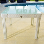 Wicked Wicker Diamond Square Wicker Dining Table; White Diamond/White