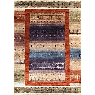 Pasargad Gabbeh Hand-Knotted Tan/Purple Area Rug