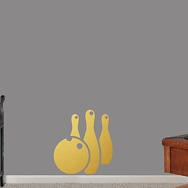 SweetumsWallDecals Bowling Ball and Pins Wall Decal; Gold