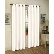 J&V Textiles Mira Solid Blackout Curtain Grommet Panels (Set of 2); White