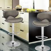 AdecoTrading Adjustable Height Swivel Bar Stool (Set of 2); Deep Gray