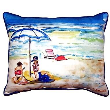 Betsy Drake Interiors Children at the Beach Outdoor Lumbar Pillow; Extra Large