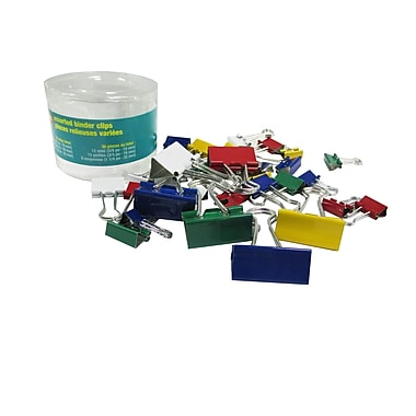 Staples® Binder Clips, Assorted Sizes, Fashion Colours & Sizes, 30/Tub