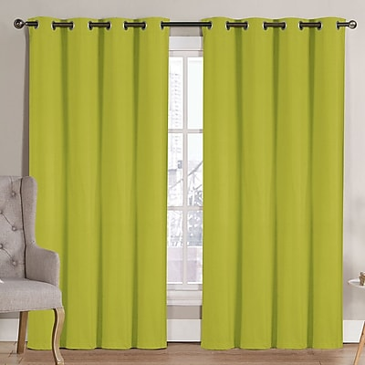 Ruthy's Outlet Solid Blackout Thermal Grommet Curtain Panels (Set of 2); Lime