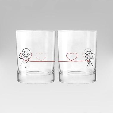 BoldLoft My Heart Beats for You Couple 12 oz. Drinking Glass (Set of 2)