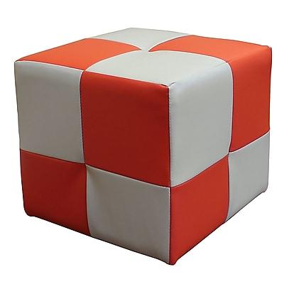 DonnieAnn Company Raymond Cube Ottoman; Orange
