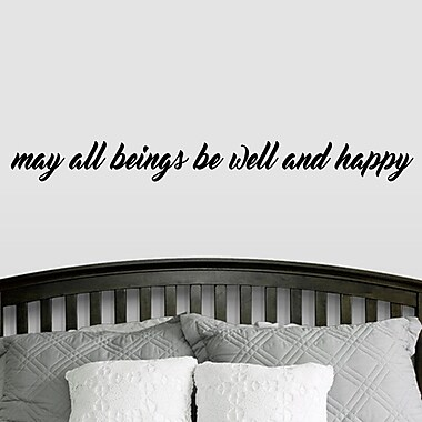 SweetumsWallDecals ''May All Beings Be Well and Happy'' Wall Decal; Black