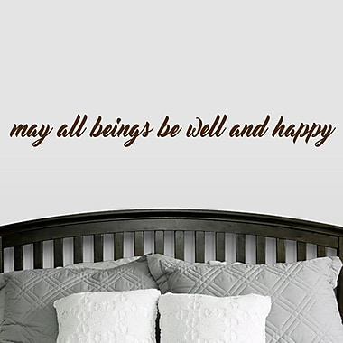 SweetumsWallDecals ''May All Beings Be Well and Happy'' Wall Decal; Brown