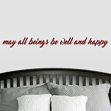 SweetumsWallDecals ''May All Beings Be Well and Happy'' Wall Decal; Cranberry