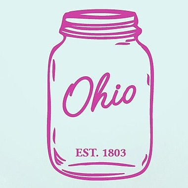 SweetumsWallDecals Ohio Mason Jar Wall Decal; Hot Pink