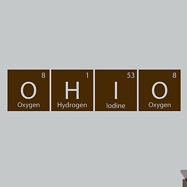 SweetumsWallDecals Ohio Periodic Table Wall Decal; Brown
