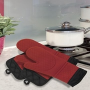 Popular Bath Products 4 Piece Oven Mitt and Pot Holder Set; Red