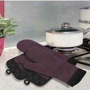 Popular Bath Products 4 Piece Oven Mitt and Pot Holder Set; Purple