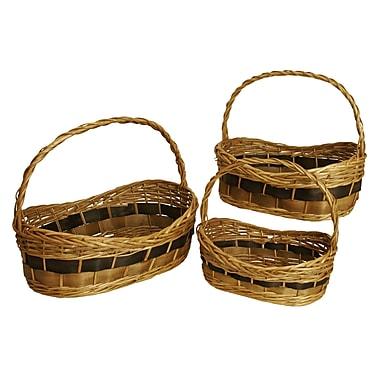 WaldImports 3 Piece Tuscana Wood Chip Handled Basket Set