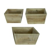 Entrada Flower 3 Piece Wood Pot Planter Set