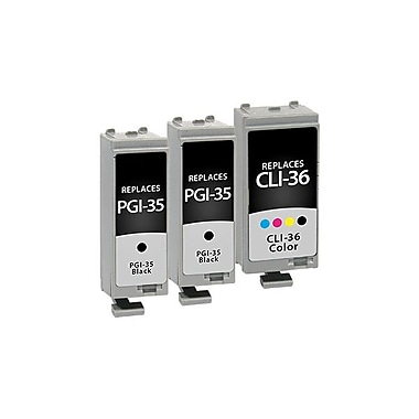 Staples® - Cartouche jet d'encre compatible Canon noir/couleur, remis à neuf, PGI-35/PGI-35/CLI-36 (1509B002/1509B002/1511B002)