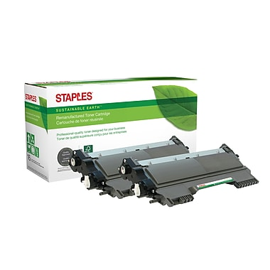 Staples® Sustainable Earth® - Cartouche de toner laser remise à neuf TN450 compatible Brother, noir, haut rendement, paq./2