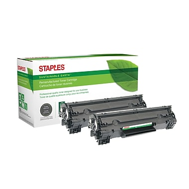 Staples® Sustainable Earth® HP 78A Reman Laser Toner Cartridge, Black, 2/Pack (CE278A)