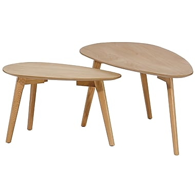 Cathay Importers Oak Triangle Nesting Table, Large and Small, 2/Pack