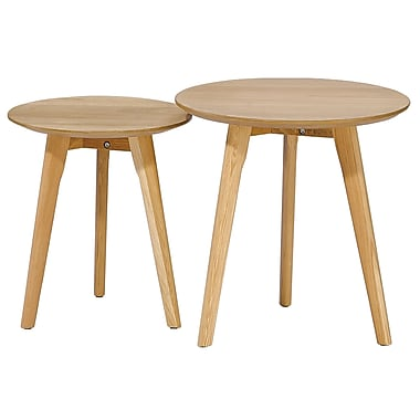 Cathay Importers Oak Round Nesting Table, Large and Small, 2/Pack
