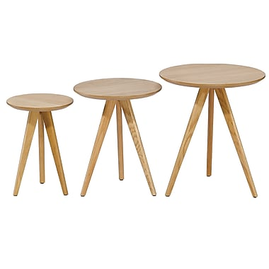 Cathay Importers Oak Round Nesting Table, Large, Medium, and Small, 3/Pack