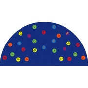 Kid Carpet Alphabet Dots Blue Semicircle Area Rug