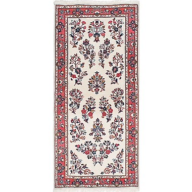 ECARPETGALLERY Sarough Hand-Knotted Cream/Red Area Rug