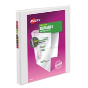 "Avery® 1/2"" Durable 3-Ring Slant D-Ring View Binder, White (17004/17002)"
