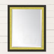 Melissa Van Hise Slate Black and Yellow Wall Mirror; 42'' H x 30'' W x 1'' D