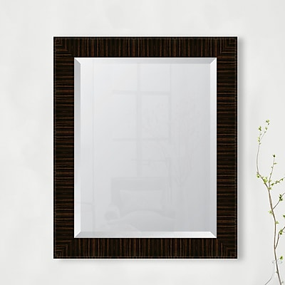 Melissa Van Hise High Gloss Zebra Walnut Resin Frame Wall Mirror; 34.5'' H x 28.5'' W x 1.25'' D
