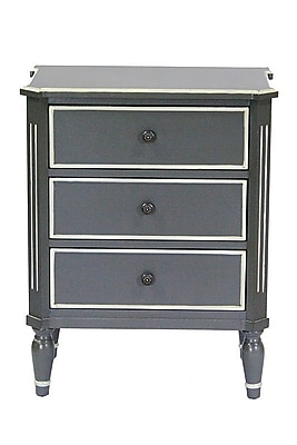 Heather Ann 3 Drawer Dresser Chest; Gray