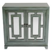 Heather Ann 2 Door Wood Cabinet w/ Mirror; Blue