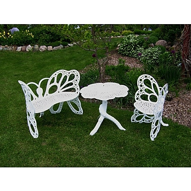 Flowerhouse Butterfly 3 Piece Bench Seating Group Set; White