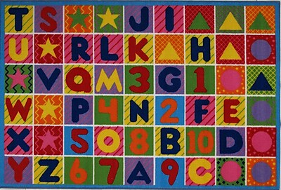 Zoomie Kids Fornax Numbers and Letters Kids Area Rug; 5'3'' x 7'6''