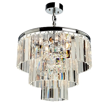 Rosdorf Park Bindera Drum Shade 9-Light Pendant; Chrome