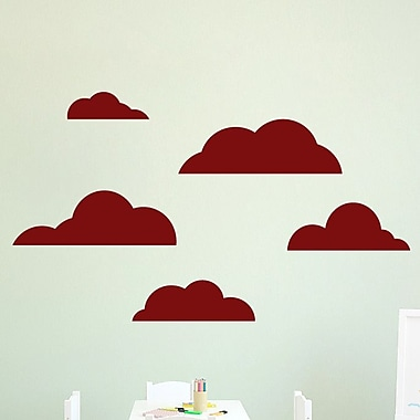 SweetumsWallDecals 5 Piece Cloud Wall Decal Set; Cranberry
