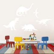 SweetumsWallDecals 5 Piece Dinosaur Wall Decal Set; White