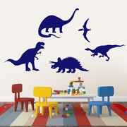 SweetumsWallDecals 5 Piece Dinosaur Wall Decal Set; Navy