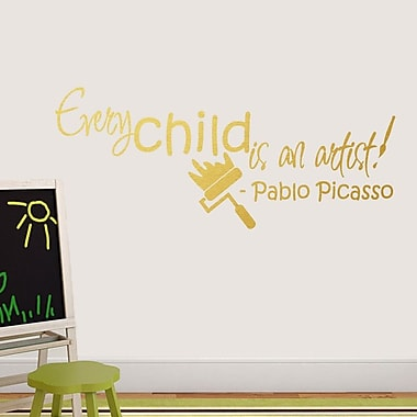 SweetumsWallDecals Every Child is An Artist Wall Decal; Gold