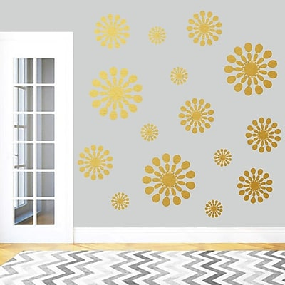 SweetumsWallDecals 15 Piece Abstract Circle Wall Decal Set; Gold