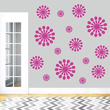 SweetumsWallDecals 15 Piece Abstract Circle Wall Decal Set; Hot Pink