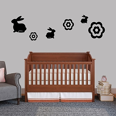 SweetumsWallDecals 6 Piece Bunnie and Flower Wall Decal Set; Black