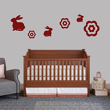 SweetumsWallDecals 6 Piece Bunnie and Flower Wall Decal Set; Cranberry